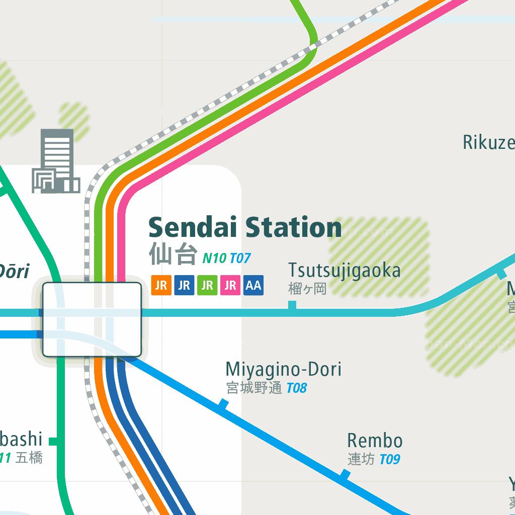 Sendai Rail Map - A Smart City Guide Map, Even Offline!