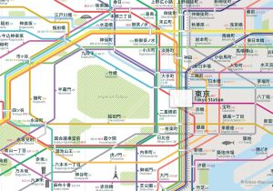 Tokyo City Rail Map Japanese shows the train and public transportation routes of