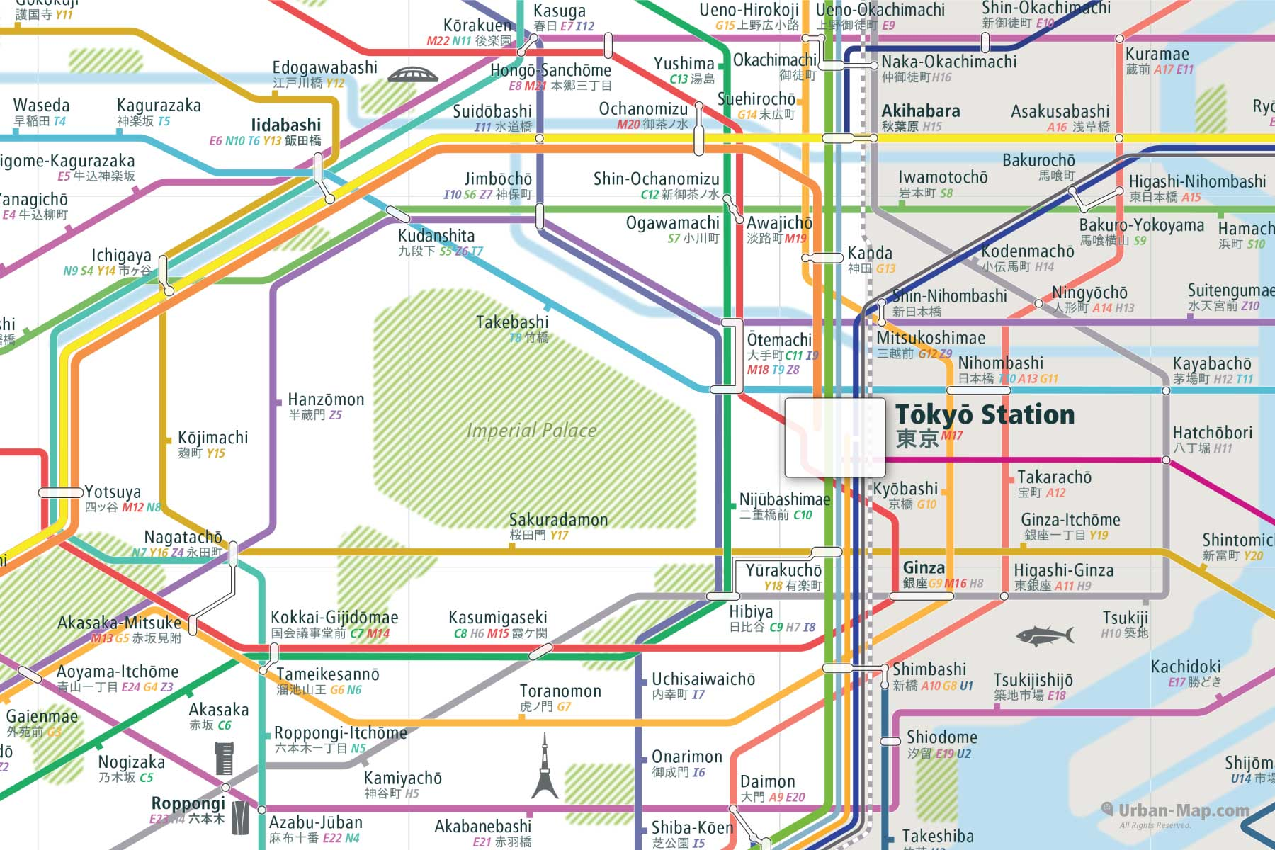 Central Subway Map.Central Tokyo Rail Map A Smart Printed City Map Order Now