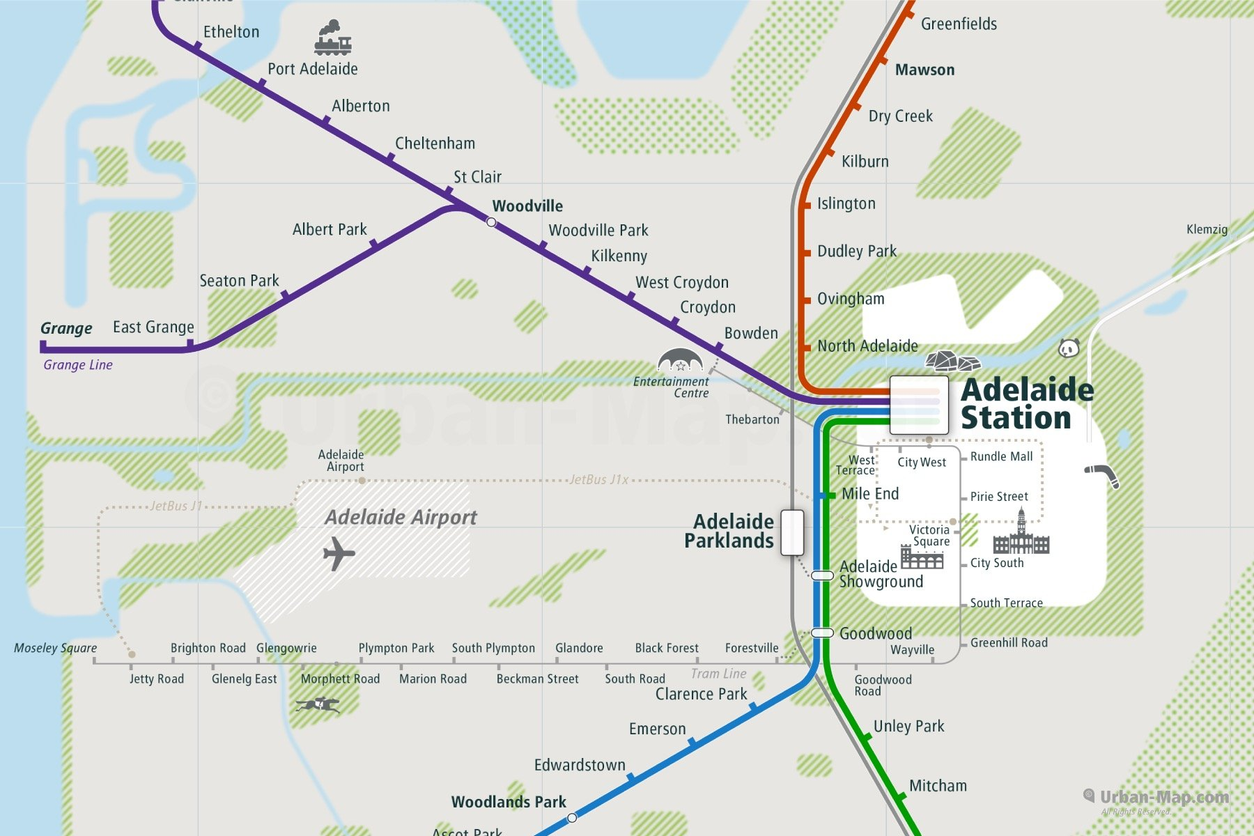 Adelaide City Rail Map shows the train and public transportation routes of Commuter Rail, Tram, Airport Link - Close-Up