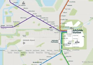 Adelaide City Rail Map for train and public transportation  - Adelaide