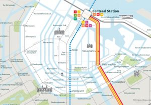 Amsterdam City Rail Map for train and public transportation - Close-up