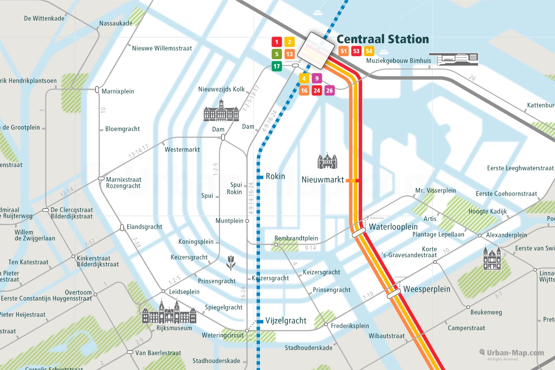 Amsterdam City Rail Map shows the train and public transportation routes of metro and tram - Close-Up