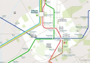 Athens City Rail Map for train and public transportation routes of metro, tram, ferry, funicular - Close-up