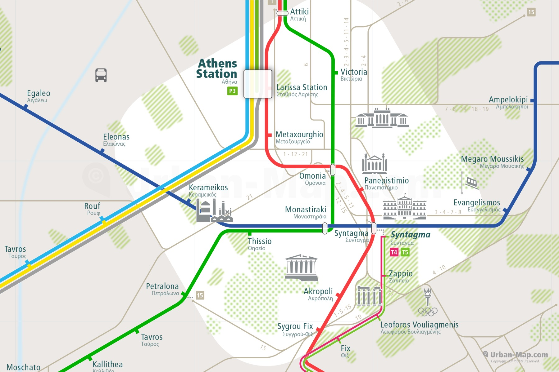 Athens City Rail Map shows the train and public transportation routes of metro, tram, ferry, funicular