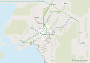 Athens City Rail Map for train and public transportation routes of metro, tram, ferry, funicular - Overview