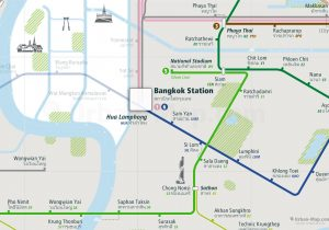 Bangkok City Rail Map for train and public transportation  - Close-up