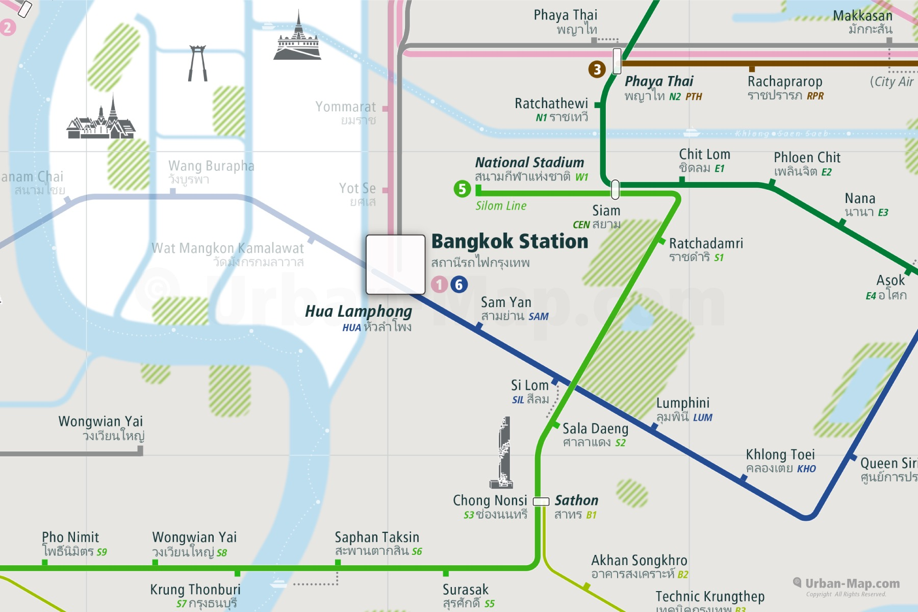 Bangkok City Rail Map shows the train and public transportation routes of metro, BRT Bus Rapid Transport, Airport Link - Close-Up