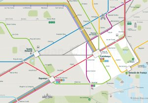 Barcelona City Rail Map for train and public transportation - Close-up