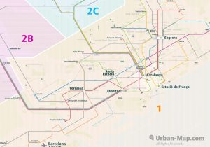 Barcelona City Rail Map for train and public transportation - Farezone Overview
