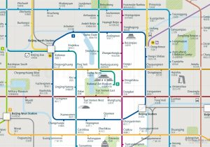 Beijing City Rail Map for train and public transportation - Close-up