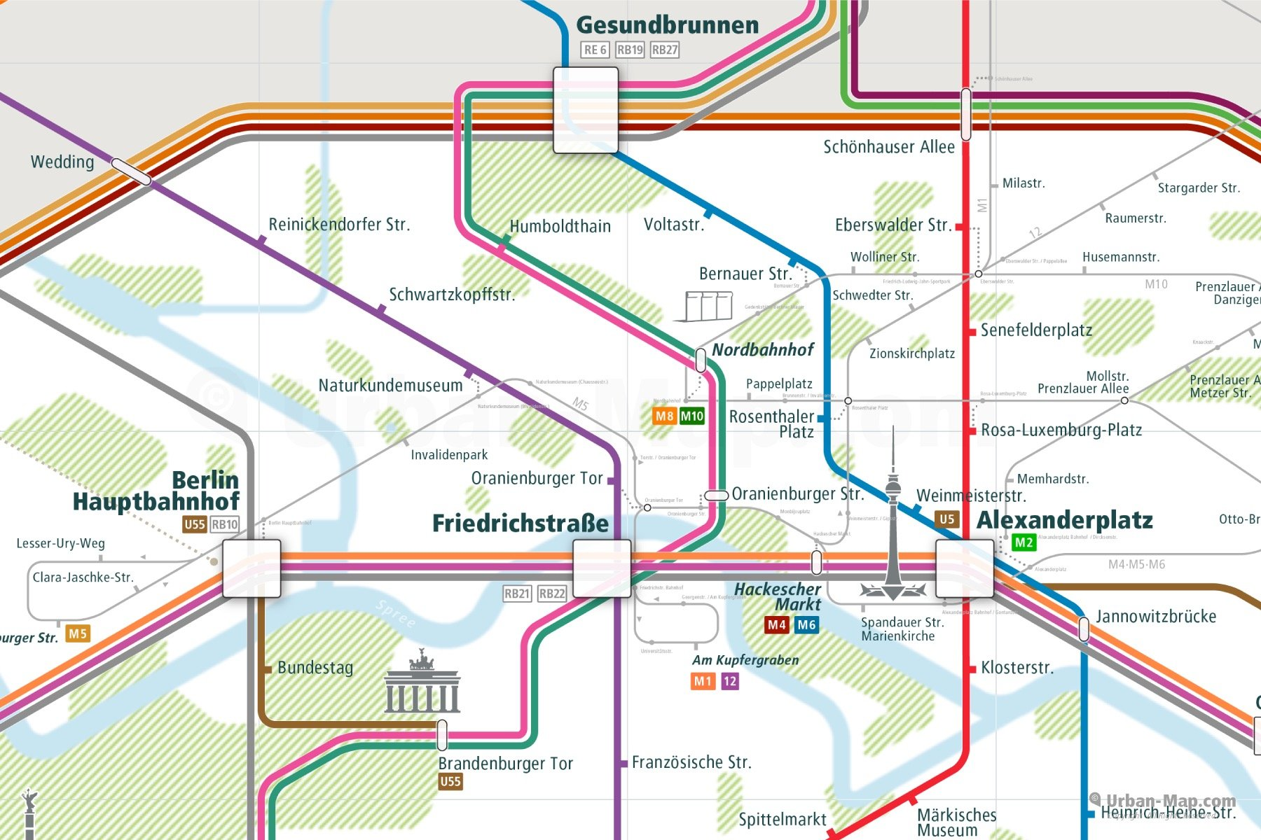 Berlin City Rail Map shows the train and public transportation routes of Metro, U-Bahn, S-Bahn, Tram, RE Deutsche Bahn and Airport Link - Close-Up