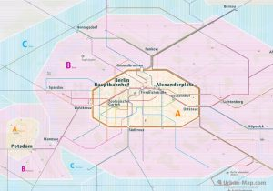 Berlin City Rail Map for train and public transportation  - Farezone Overview
