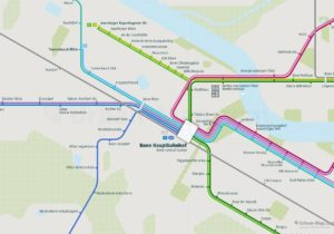 Bonn City Rail Map shows the train and public transportation routes of the metro, tram - Close-up