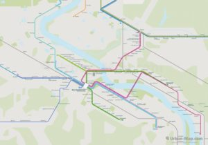 Bonn City Rail Map for train and public transportation routes of metro, tram, ferry, funicular - Overview