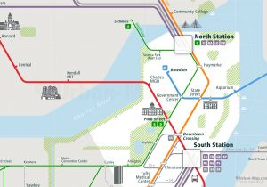 Boston City Rail Map for train and public transportation  - Close-up