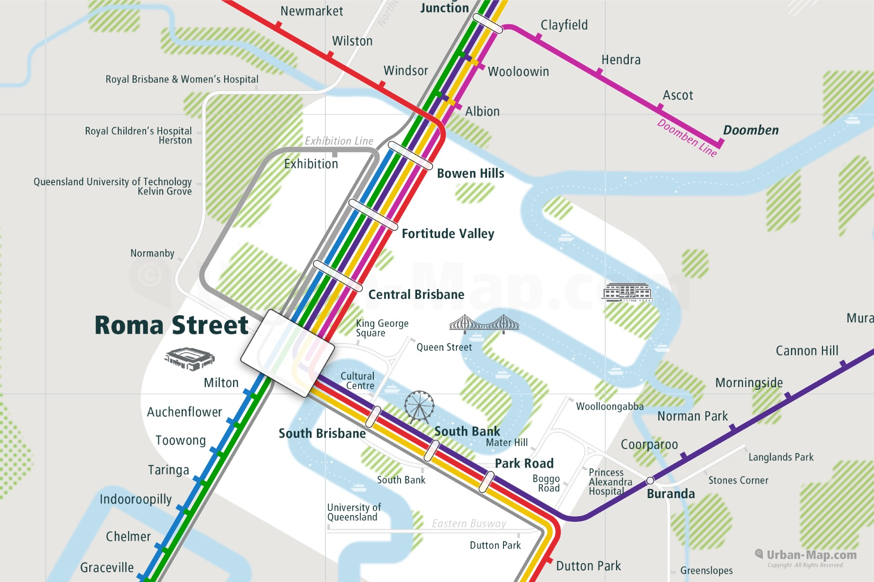 Brisbane City Rail Map shows the train and public transportation routes of Commuter Train, Tram, Busway, Airport Link - Close-Up
