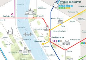 Budapest City Rail Map for train and public transportation routes of metro, tram, ferry, funicular - Close-up