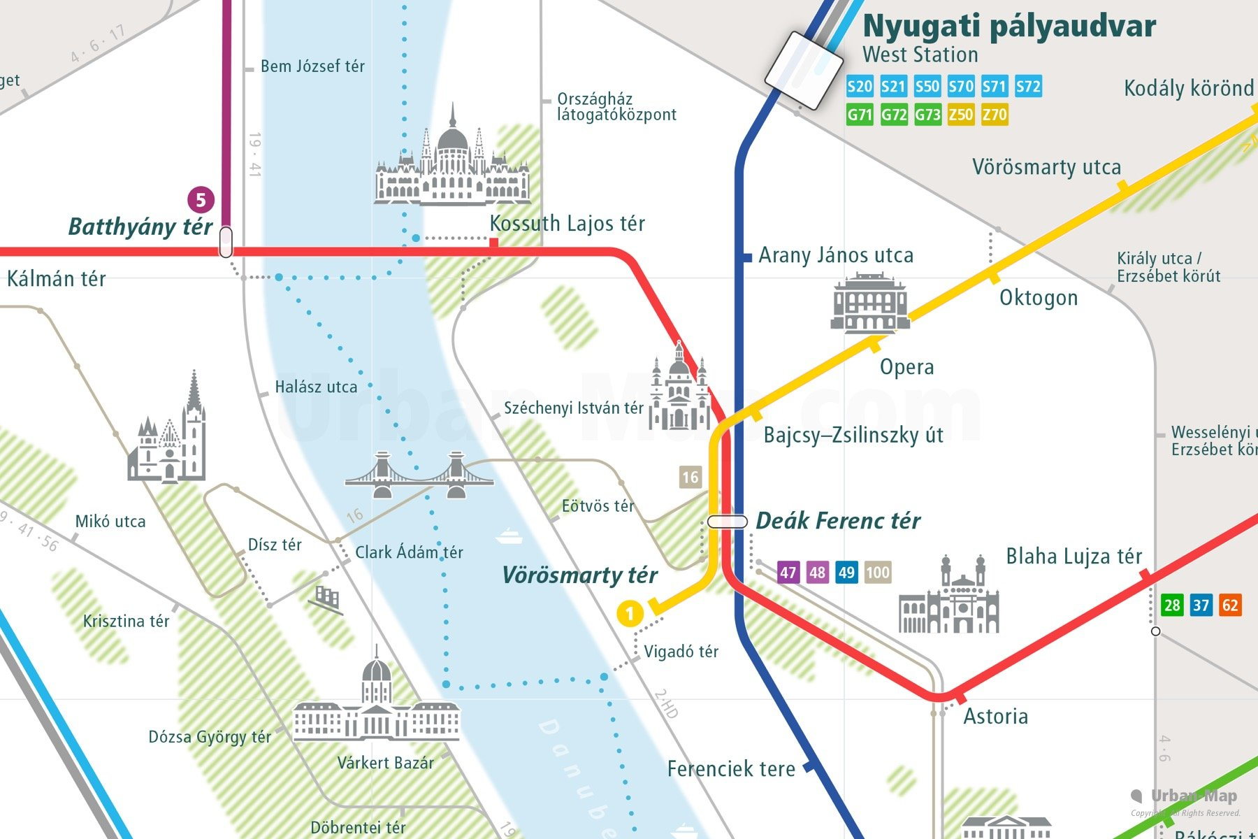 Budapest City Rail Map shows the train and public transportation routes of metro, tram, ferry, funicular - Close-up