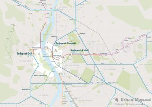 Budapest City Rail Map for train and public transportation routes of metro, tram, ferry, funicular - Overview