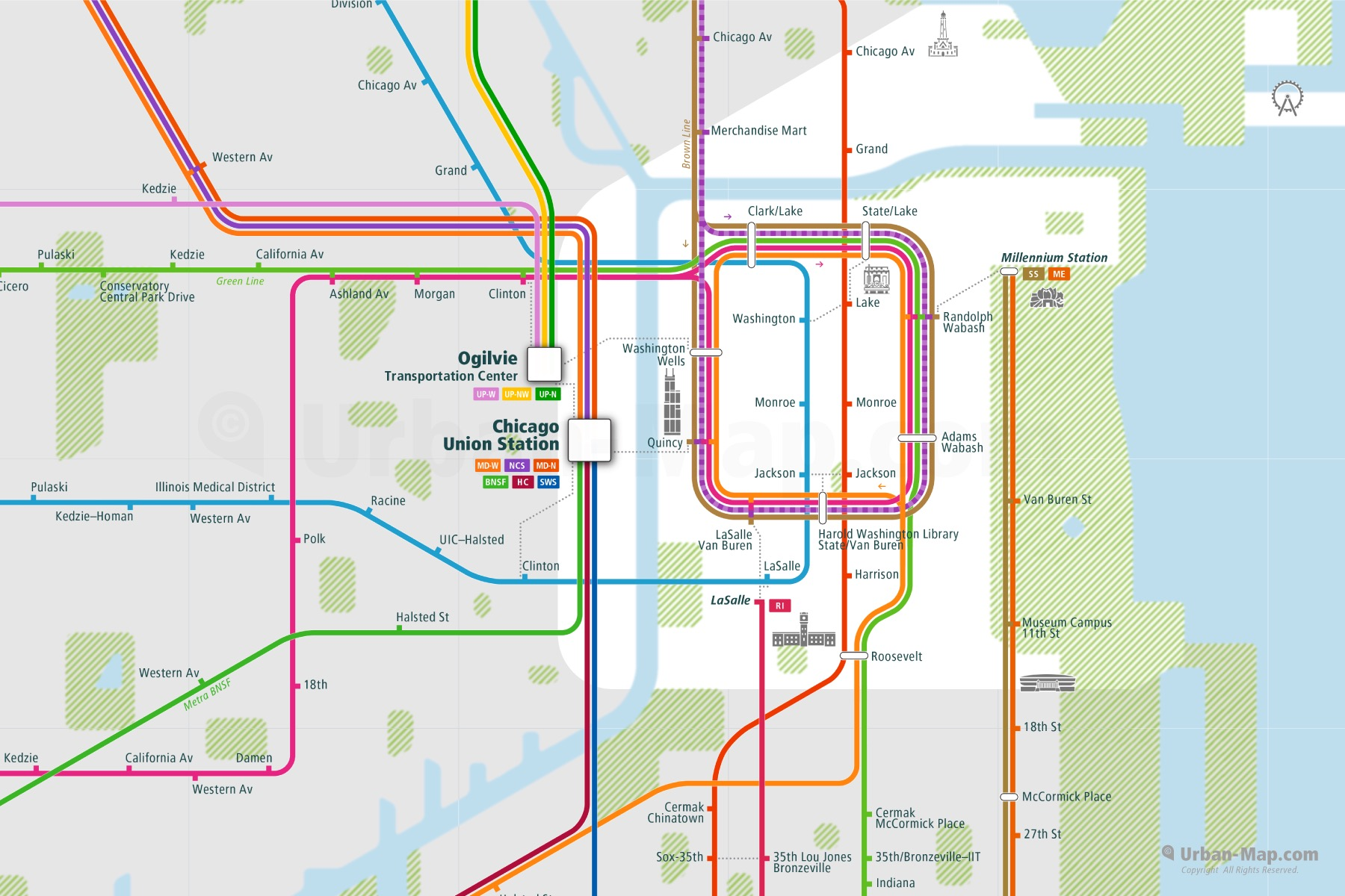 Chicago City Rail Map shows the train and public transportation routes of - Close-Up