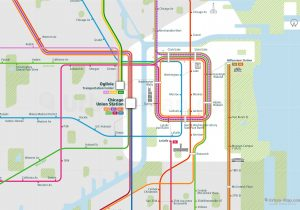 Chicago City Rail Map for train and public transportation - Close-up