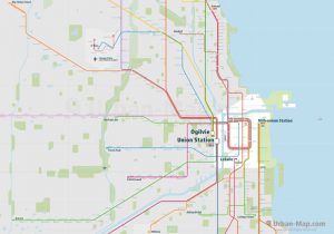 Chicago City Rail Map for train and public transportation - Overview