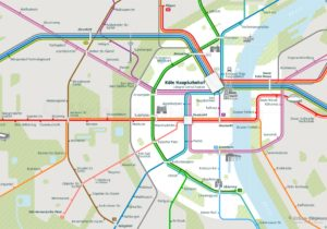Cologne City Rail Map shows the train and public transportation routes of the metro, tram - Close-up