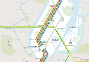 Copenhagen City Rail Map for train and public transportation - Close-up