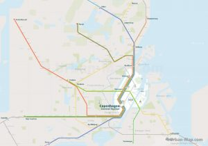 Copenhagen City Rail Map for train and public transportation  - Overview