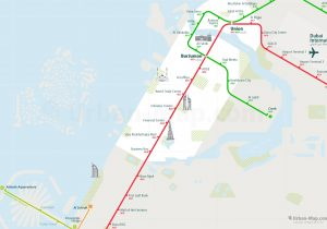 Dubai City Rail Map for train and public transportation  - Close-up