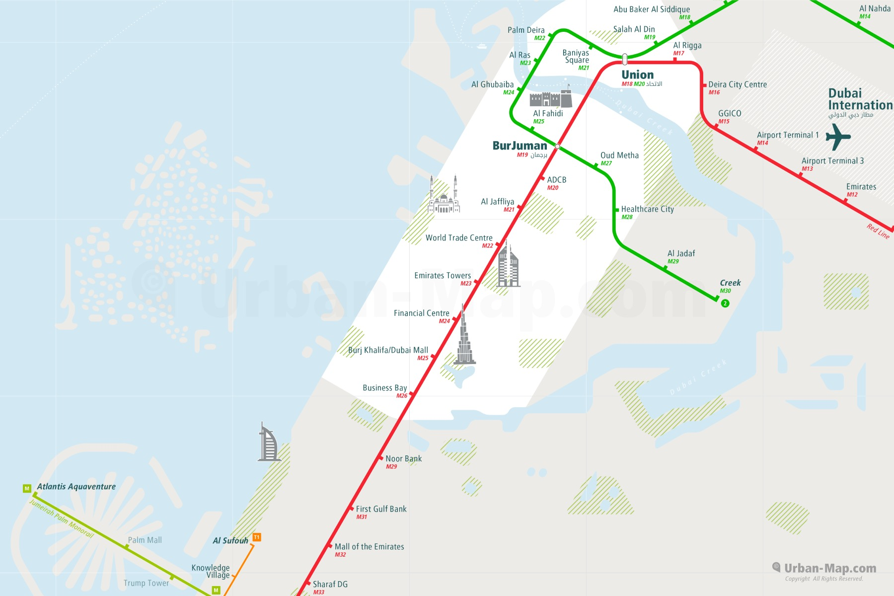 Dubai City Rail Map shows the train and public transportation routes of Metro, Monorail - Close-Up