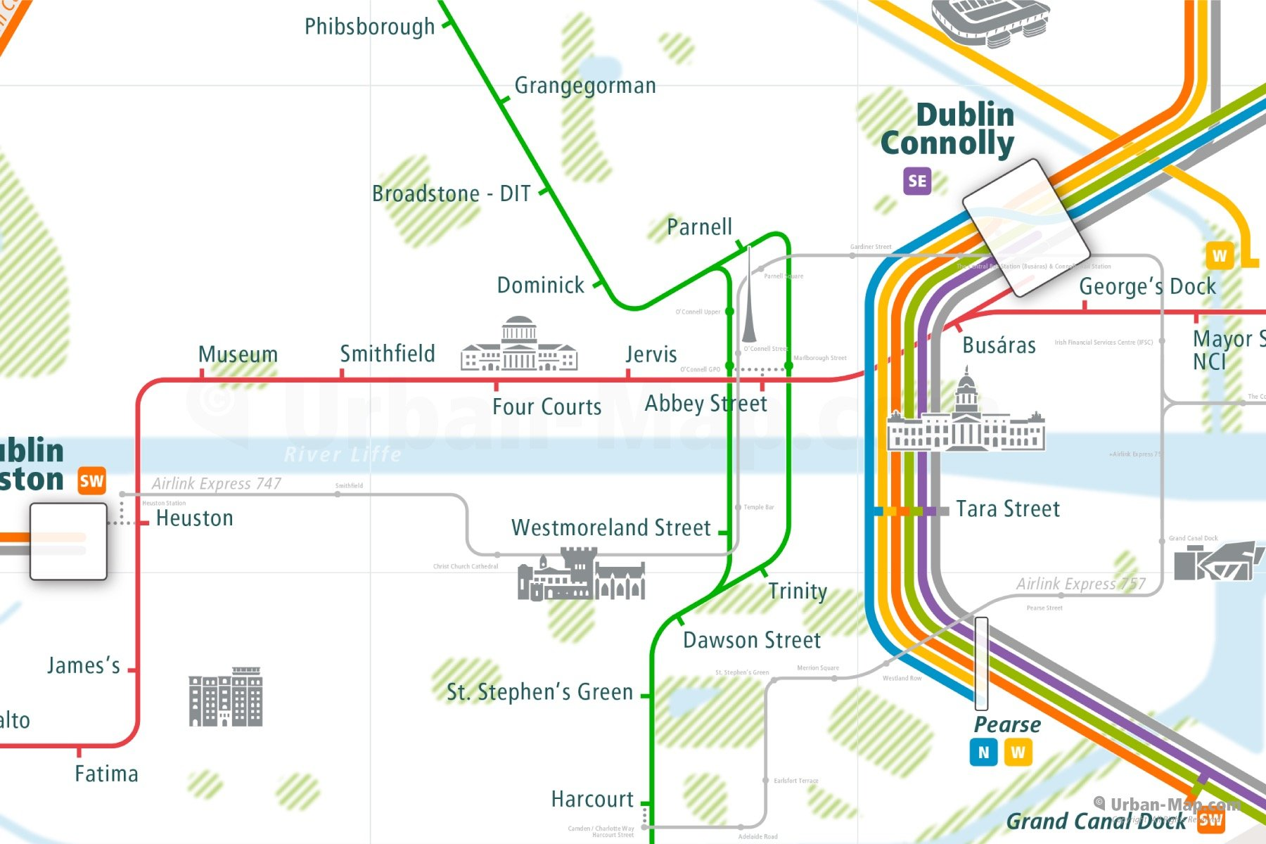 Dublin City Rail Map shows the train and public transportation routes of tram, Airlink Express, commuter train - Close-Up