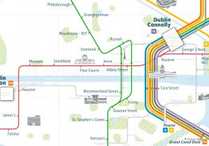 Dublin City Rail Map for train and public transportation routes of metro, tram, commuter train, airport link - Close-up