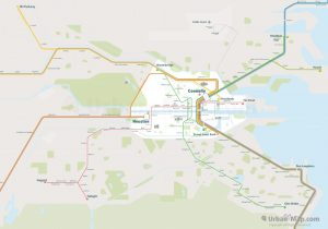 Dublin City Rail Map for train and public transportation routes of metro, tram, commuter train, airport link - Overview