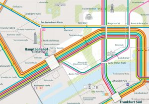 Frankfurt City Rail Map shows the train and public transportation routes of U-Bahn, S-Bahn, Tram, Strassenbahn - Close-Up