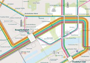 Frankfurt City Rail Map shows the train and public transportation routes of U-Bahn, S-Bahn, Tram, Strassenbahn - Close-Up