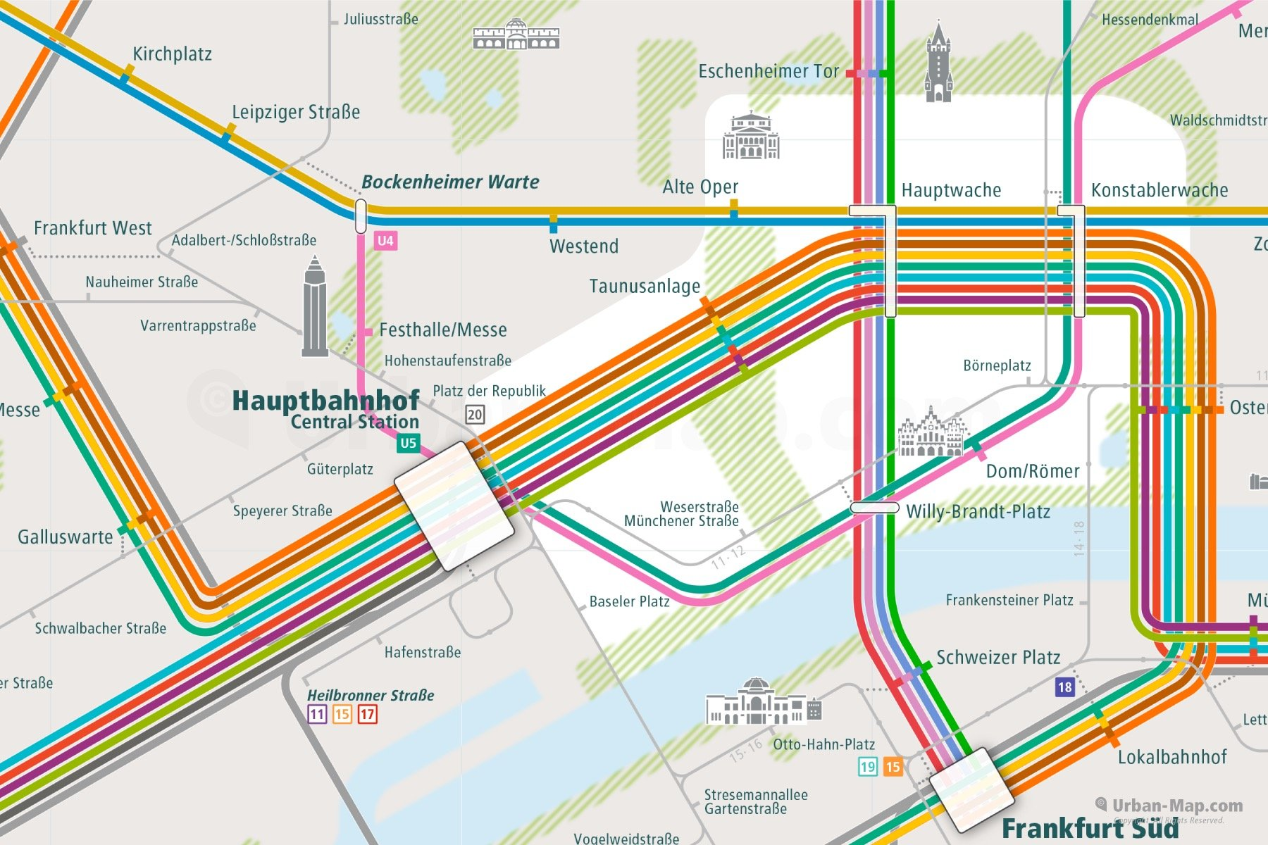 Frankfurt Rail Map close-up
