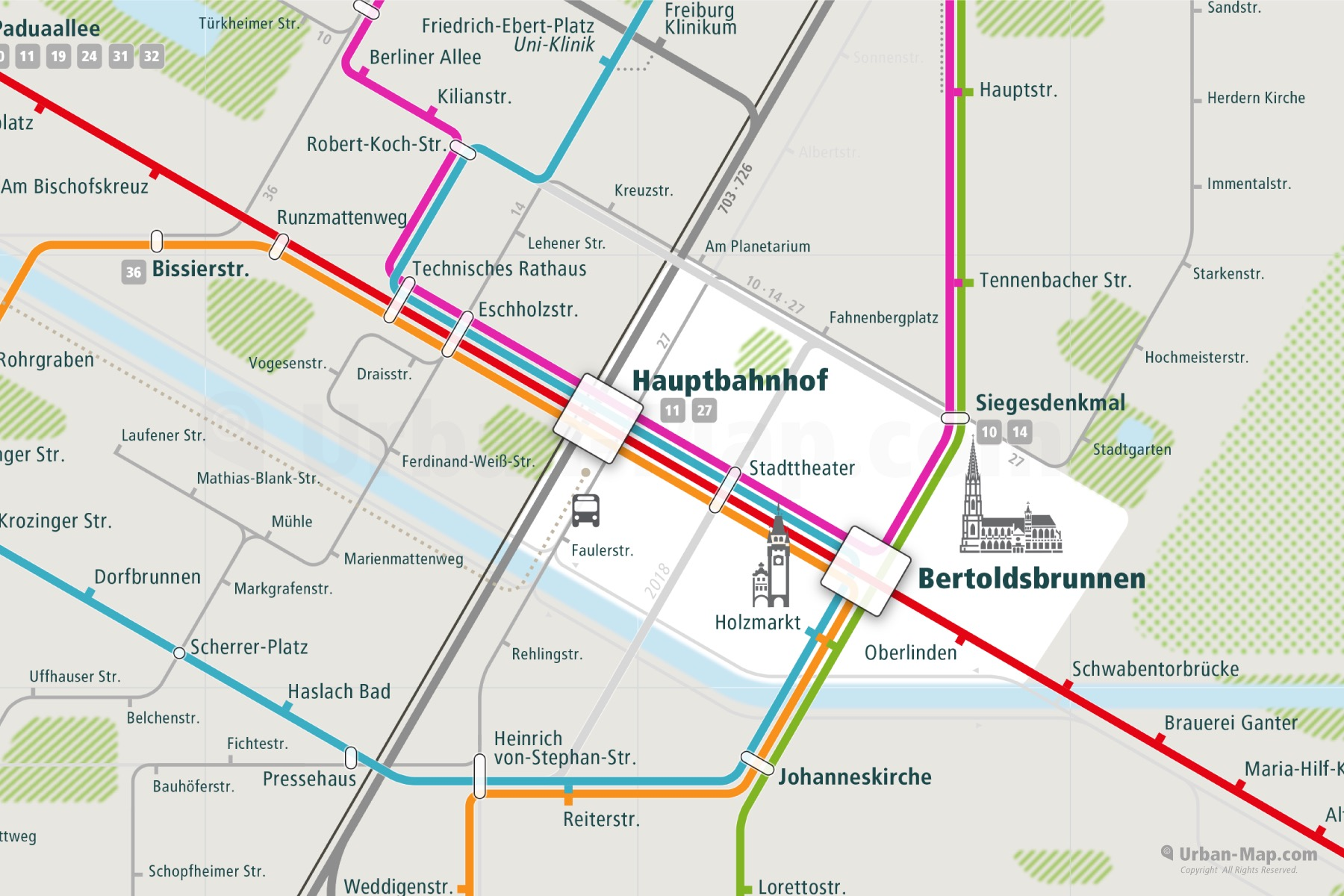 Freiburg City Rail Map shows the train and public transportation routes of tram, bus - Close-Up