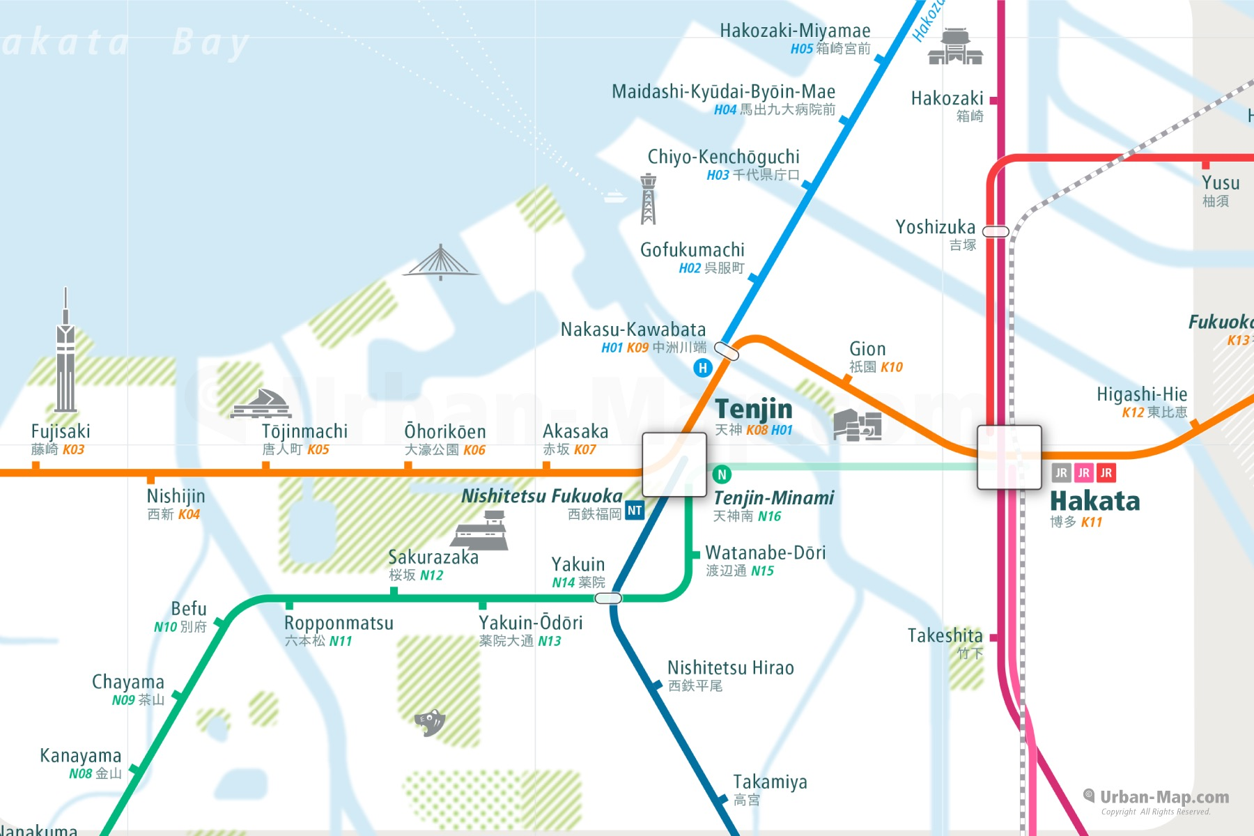 Fukuoka City Rail Map shows the train and public transportation routes of metro - Close-Up