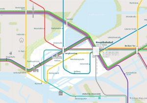 Hamburg City Rail Map for train and public transportation - Close-up