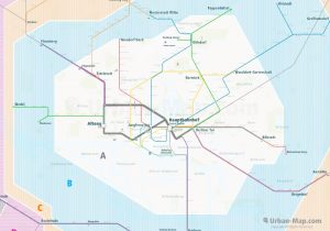 Hamburg City Rail Map for train and public transportation  - Farezone