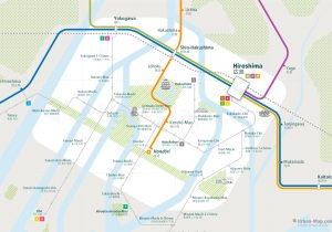 Hiroshima City Rail Map for train and public transportation  - Close-up