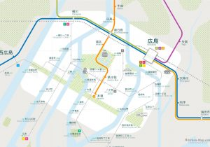 Hiroshima City Rail Map for train and public transportation  - Japanese