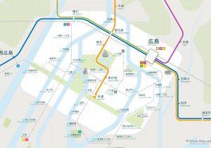 Hiroshima City Rail Map for train and public transportation - Japanese