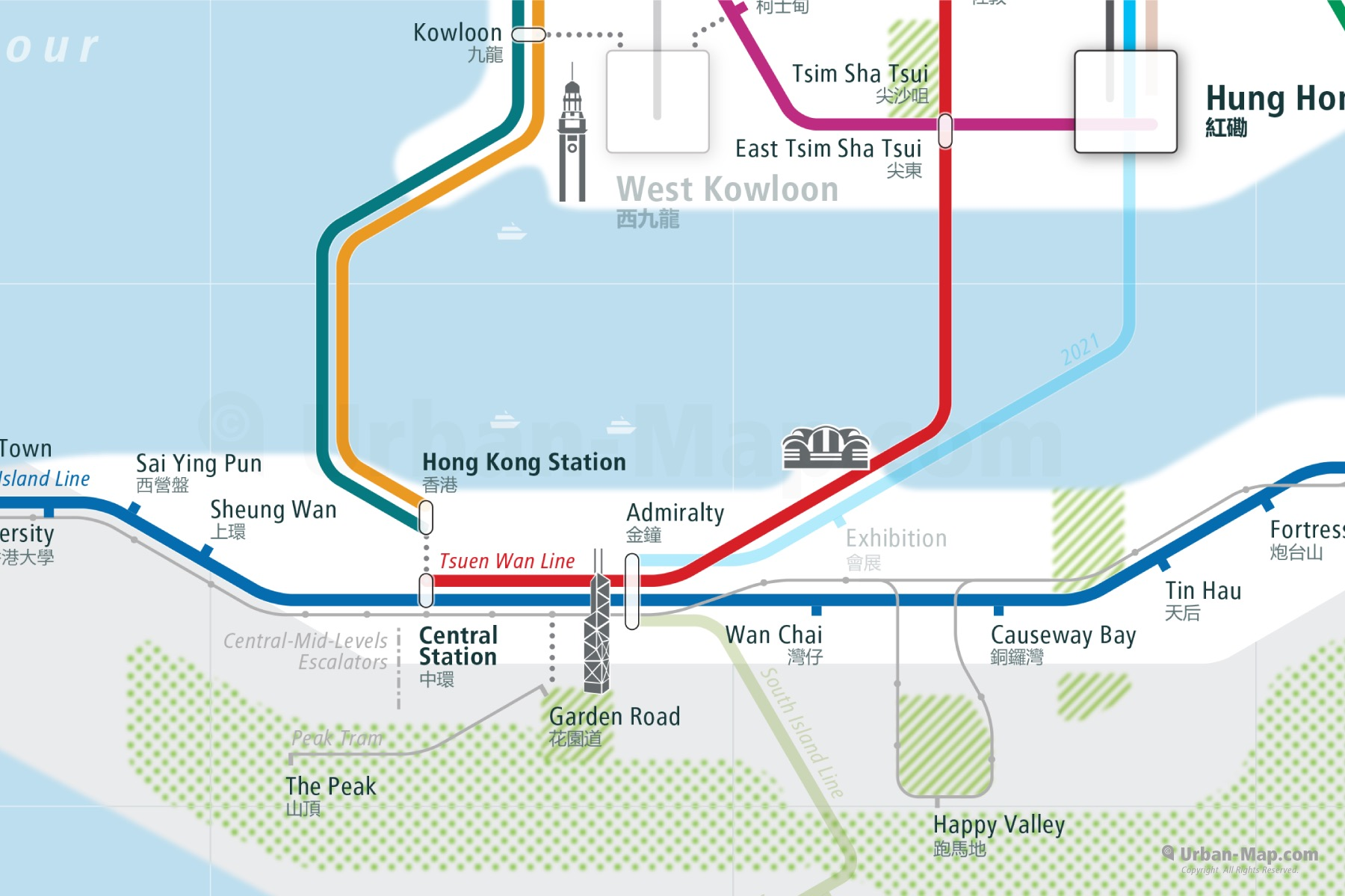 Hong Kong City Rail Map shows the train and public transportation routes of metro - Close-Up