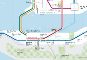 HongKong City Rail Map for train and public transportation - Close-up