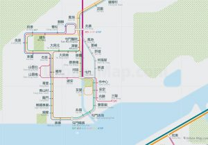 HongKong City Rail Map for train and public transportation - Chinese