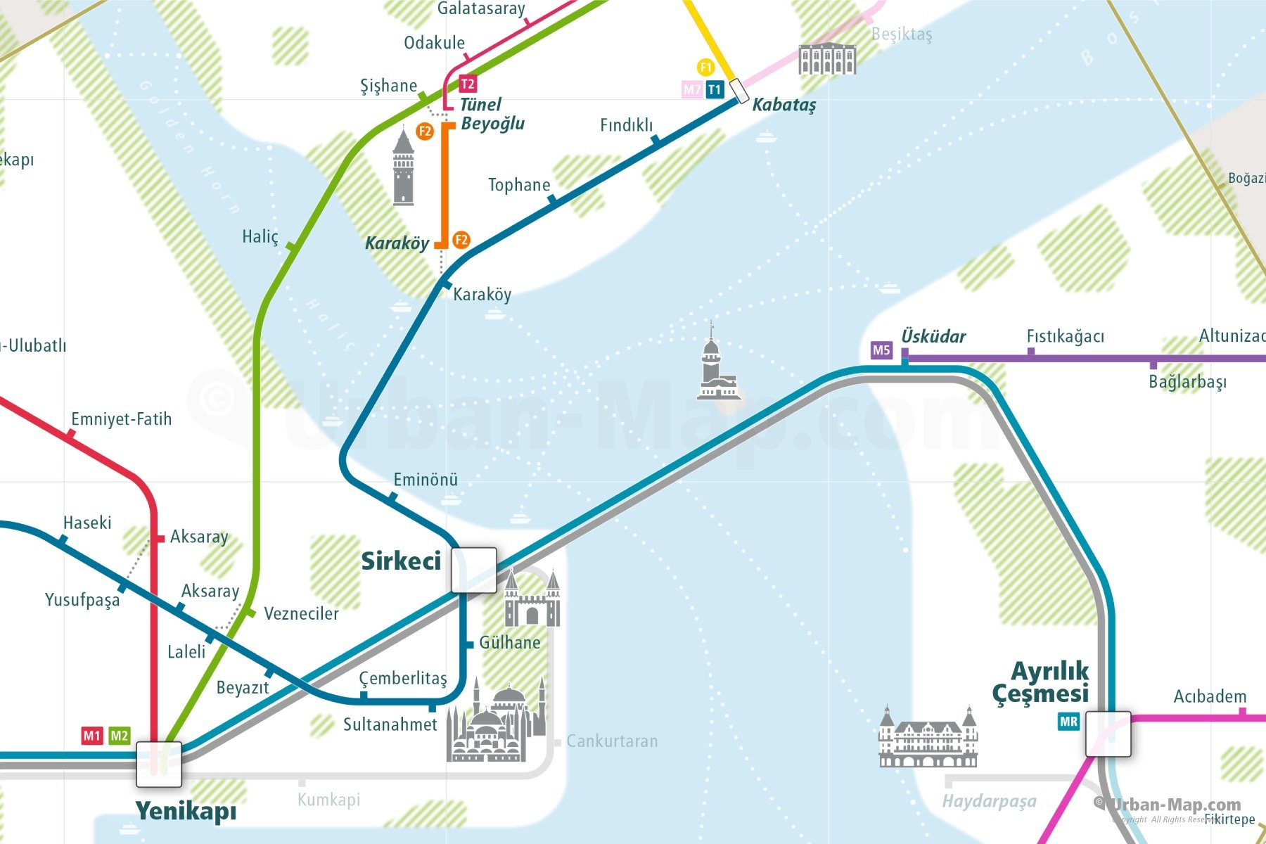 Istanbul City Rail Map shows the train and public transportation routes of Marmaray, Metro, Tram, Funiculars and Bus Rapid Transit BRT- Close-Up