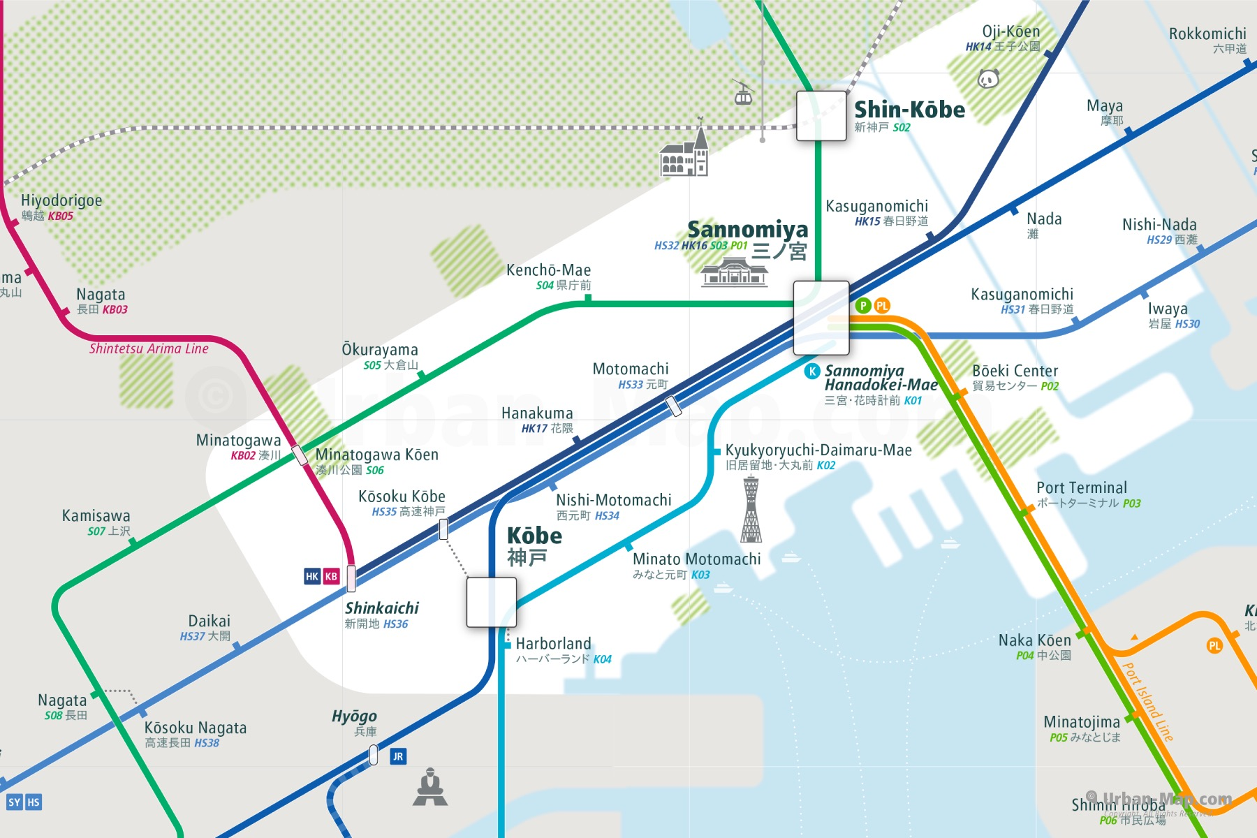 Kobe City Rail Map shows the train and public transportation routes of metro - Close-Up